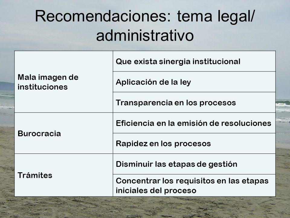 Recomendaciones: tema legal/ administrativo