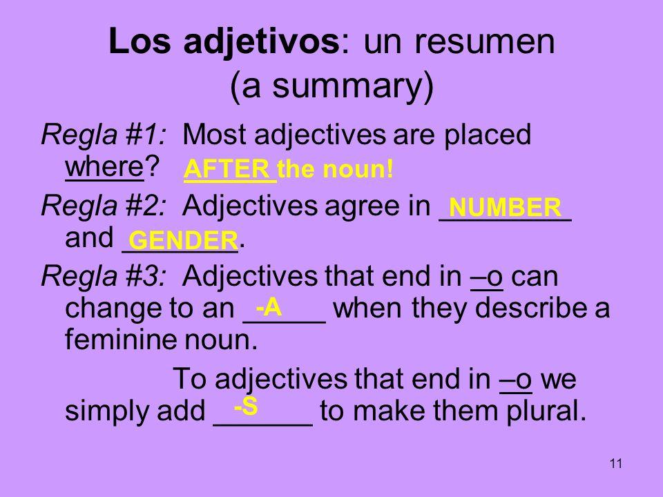 Los adjetivos: un resumen (a summary)
