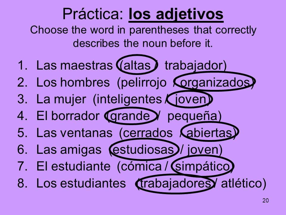 Práctica: los adjetivos Choose the word in parentheses that correctly describes the noun before it.