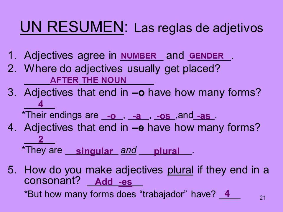 UN RESUMEN: Las reglas de adjetivos