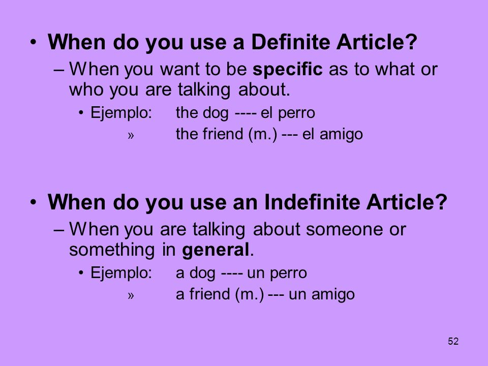 When do you use a Definite Article