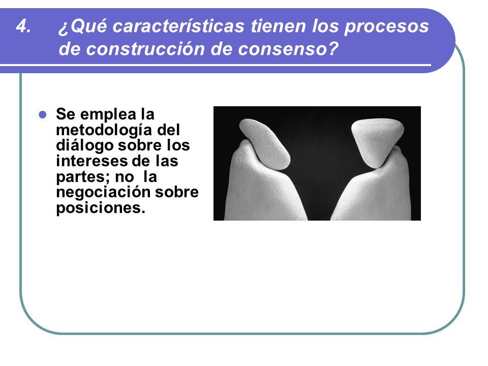 ¿Qué características tienen los procesos de construcción de consenso
