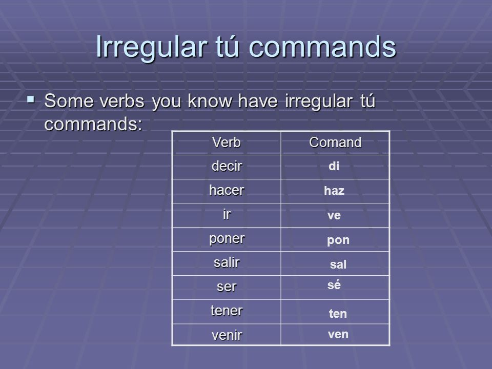 Irregular tú commands Some verbs you know have irregular tú commands: