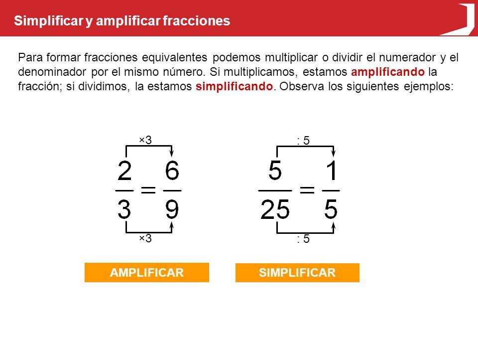 Simplificar y amplificar fracciones