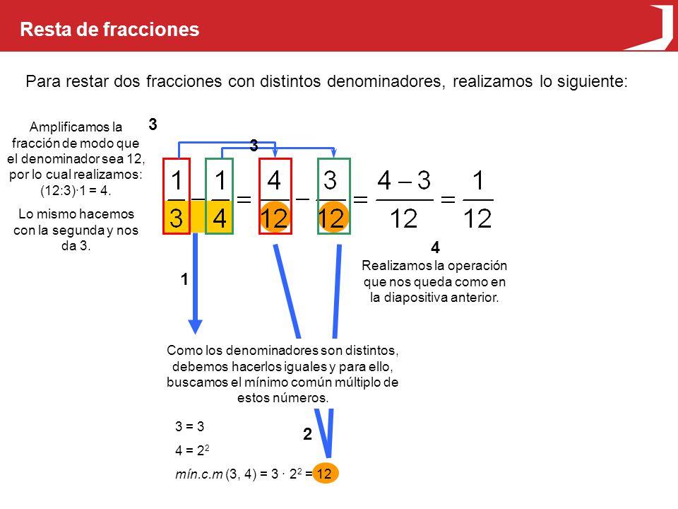 Resta de fracciones Para restar dos fracciones con distintos denominadores, realizamos lo siguiente: