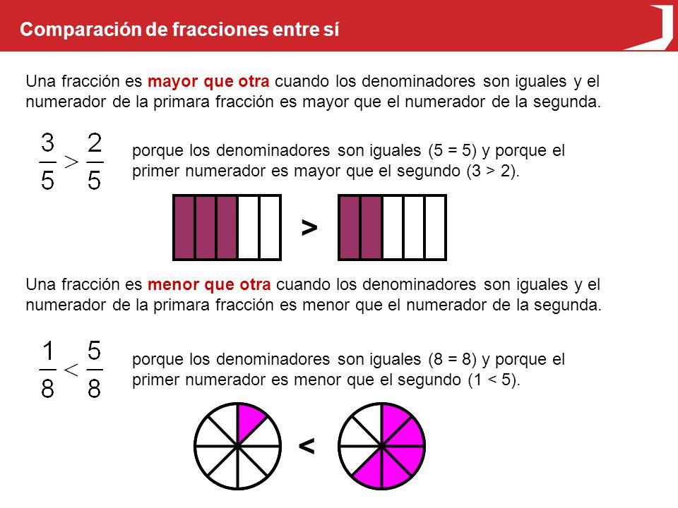 > < Comparación de fracciones entre sí