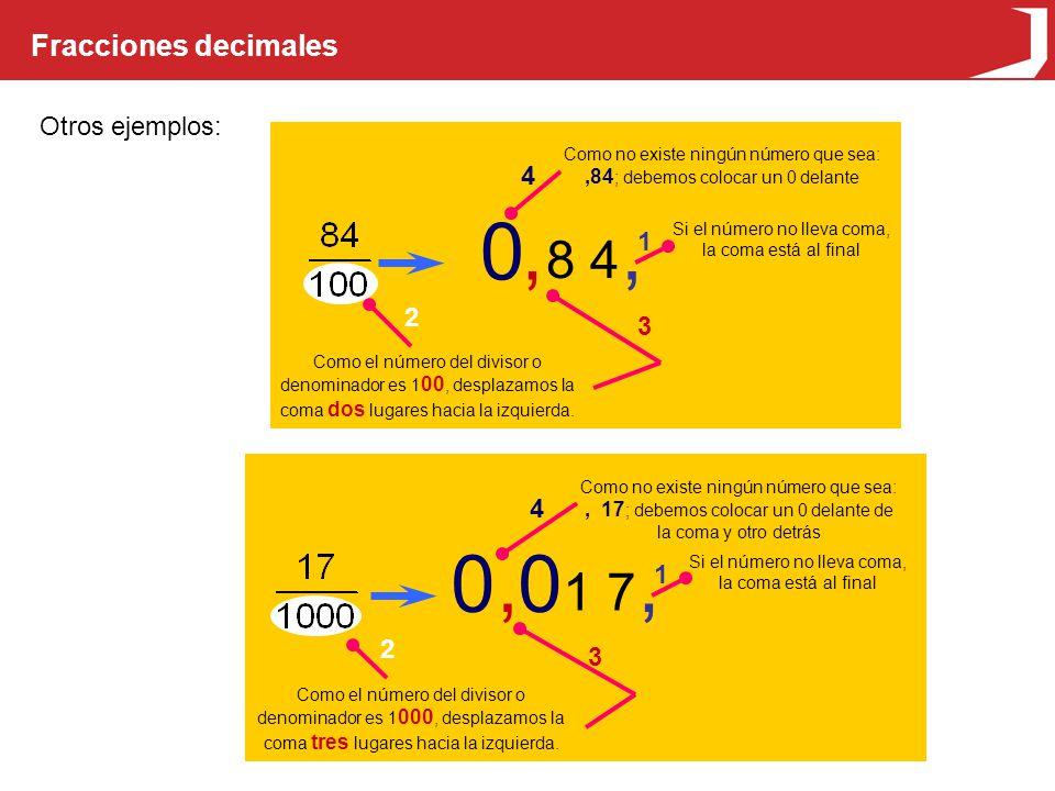 , , 0 0 , , 8 4 1 7 Fracciones decimales Otros ejemplos: 4 1 2 3 4 1 2