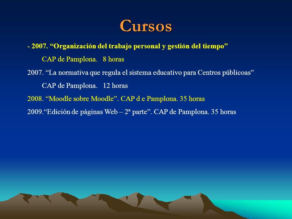 Cursos- 2007. Organización del trabajo personal y gestión del tiempo CAP de Pamplona. 8 horas.