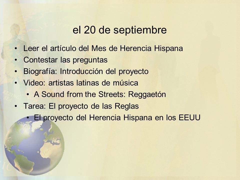 el 20 de septiembre Leer el artículo del Mes de Herencia Hispana