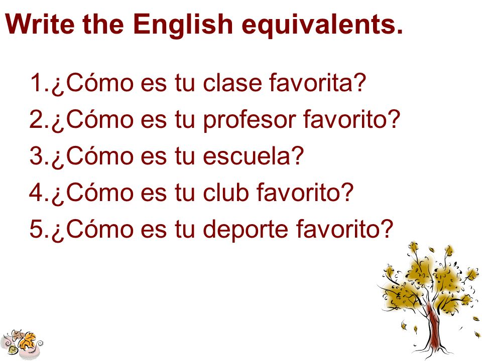 Write the English equivalents.