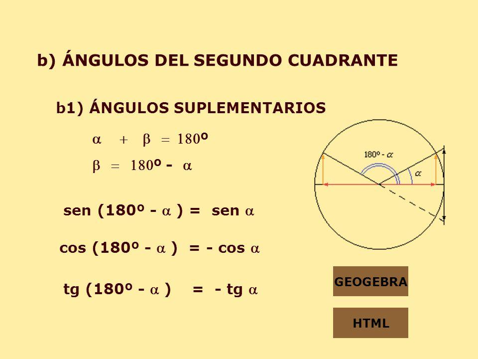 b) ÁNGULOS DEL SEGUNDO CUADRANTE