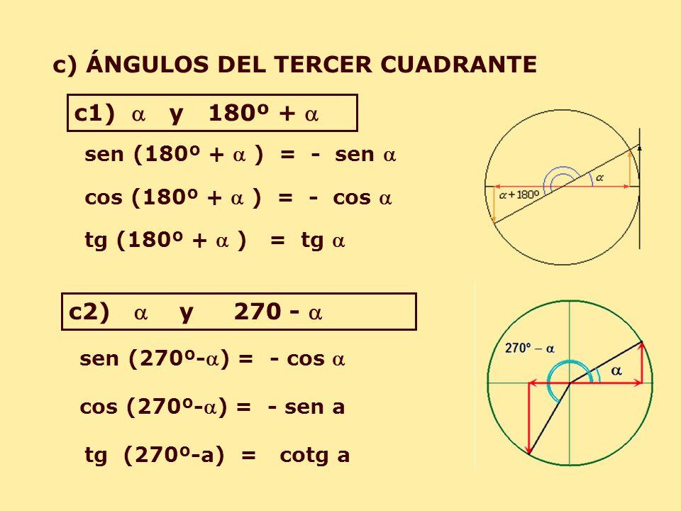 c) ÁNGULOS DEL TERCER CUADRANTE