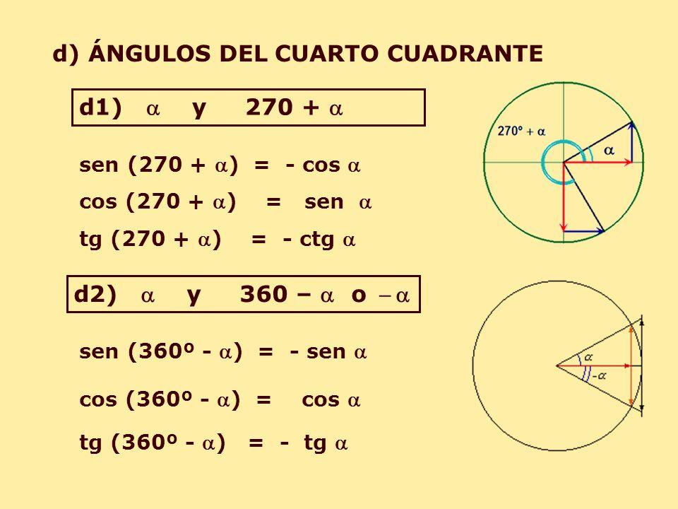 d) ÁNGULOS DEL CUARTO CUADRANTE