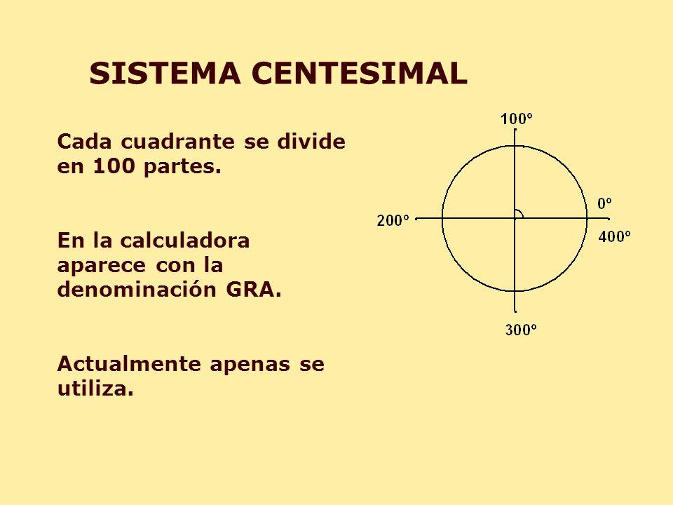 SISTEMA CENTESIMAL Cada cuadrante se divide en 100 partes.