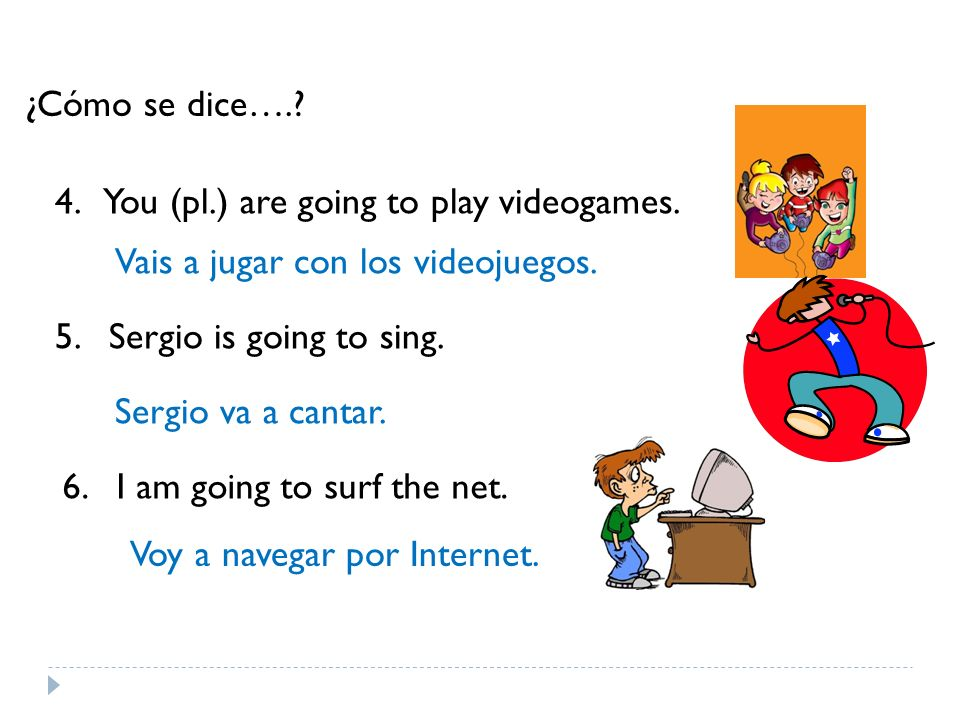 ¿Cómo se dice…. 4. You (pl.) are going to play videogames. Vais a jugar con los videojuegos. 5. Sergio is going to sing.