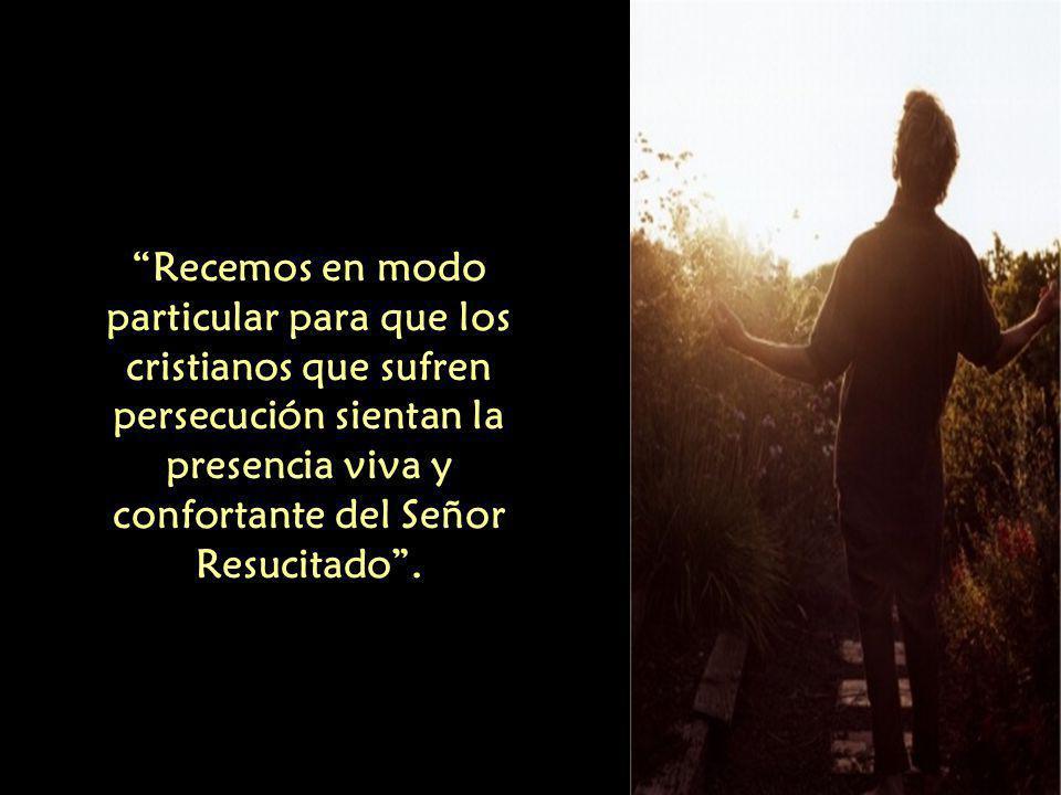 Recemos en modo particular para que los cristianos que sufren persecución sientan la presencia viva y confortante del Señor Resucitado .