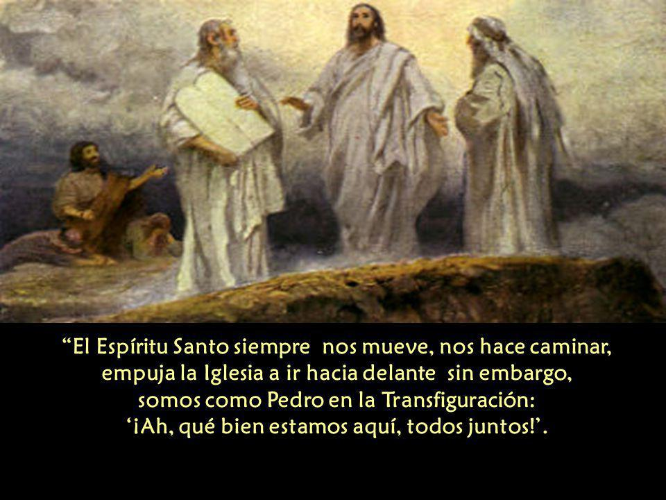 El Espíritu Santo siempre nos mueve, nos hace caminar, empuja la Iglesia a ir hacia delante sin embargo, somos como Pedro en la Transfiguración: '¡Ah, qué bien estamos aquí, todos juntos!'.