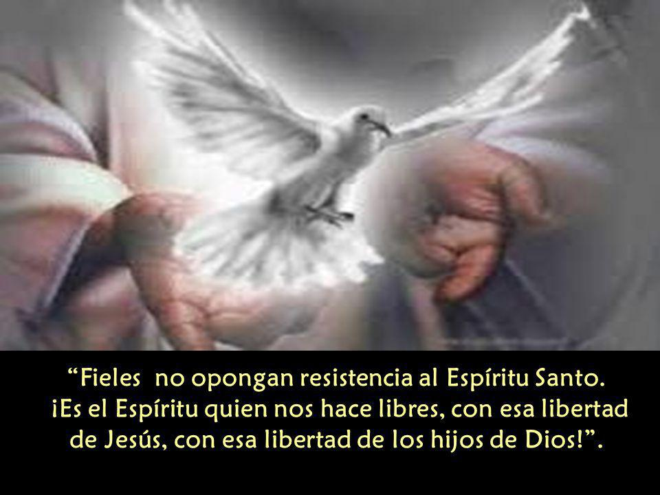 Fieles no opongan resistencia al Espíritu Santo