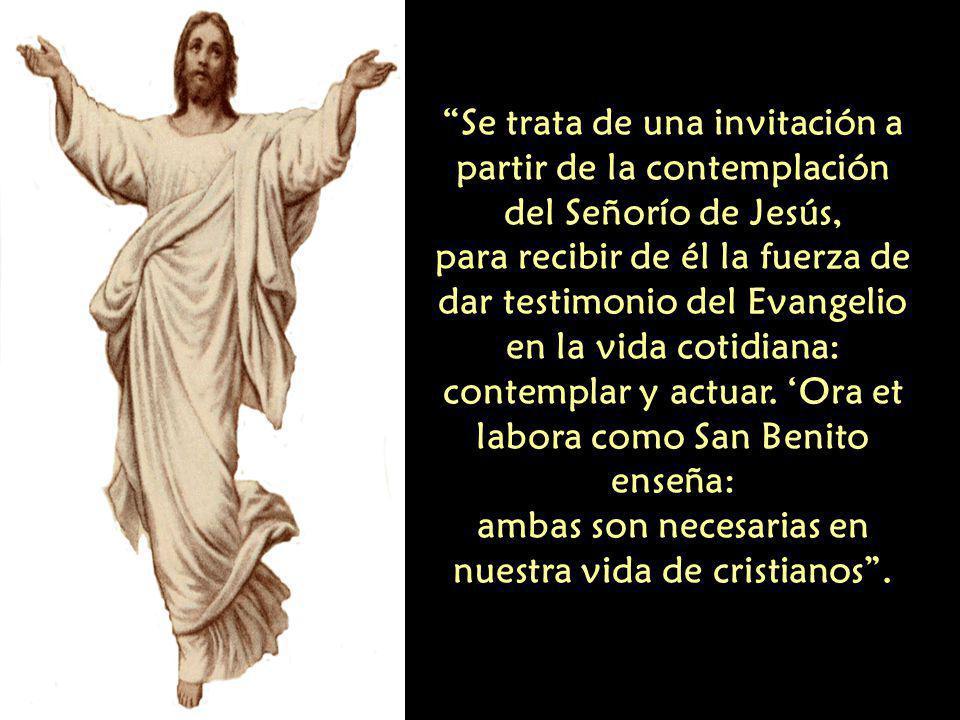 Se trata de una invitación a partir de la contemplación del Señorío de Jesús, para recibir de él la fuerza de dar testimonio del Evangelio en la vida cotidiana: contemplar y actuar.