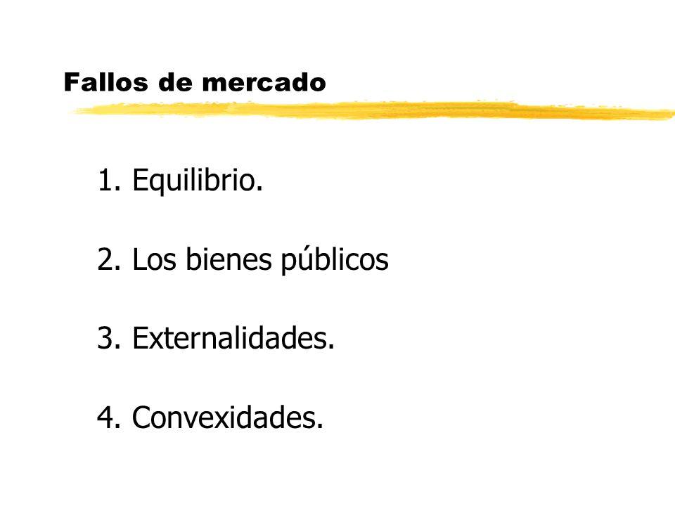 1. Equilibrio. 2. Los bienes públicos 3. Externalidades.