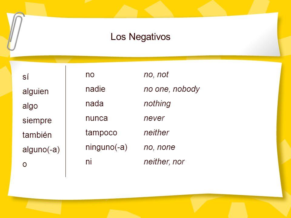 Los Negativos no no, not sí nadie no one, nobody alguien nada nothing