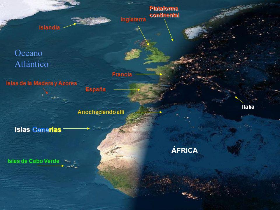 Oceano Atlántico Islas Canarias ÁFRICA Plataforma continental