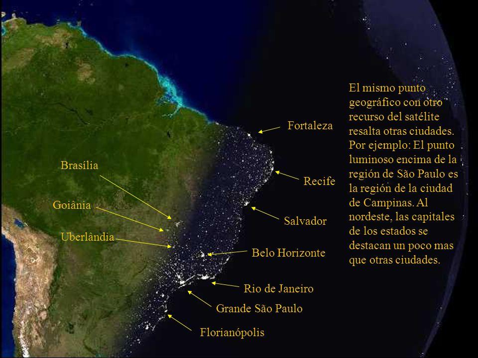 El mismo punto geográfico con otro recurso del satélite resalta otras ciudades. Por ejemplo: El punto luminoso encima de la región de São Paulo es la región de la ciudad de Campinas. Al nordeste, las capitales de los estados se destacan un poco mas que otras ciudades.