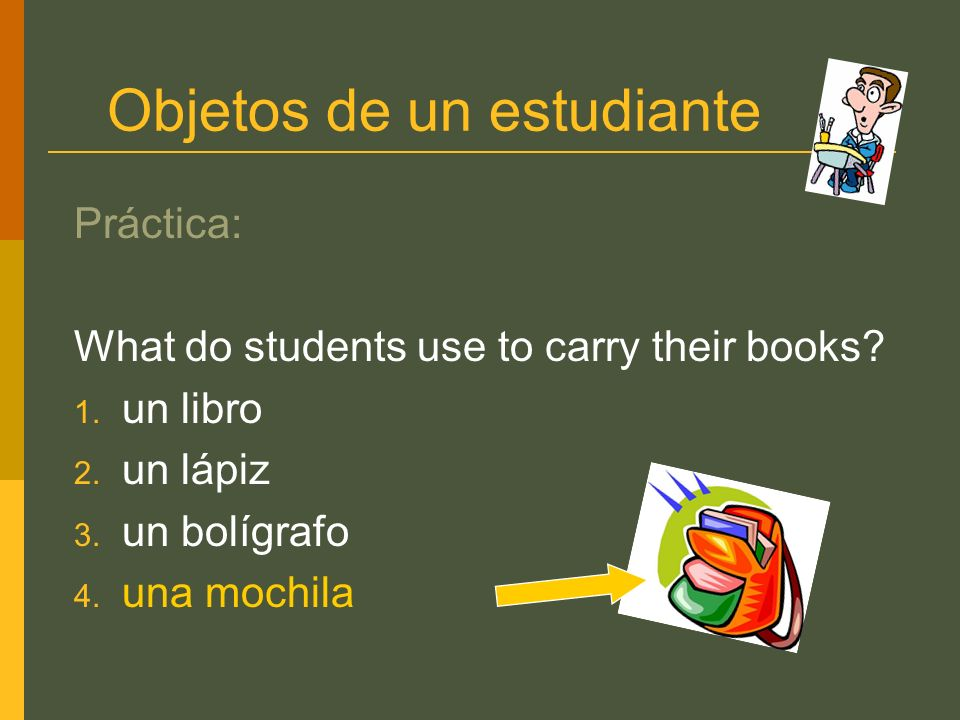 Objetos de un estudiante