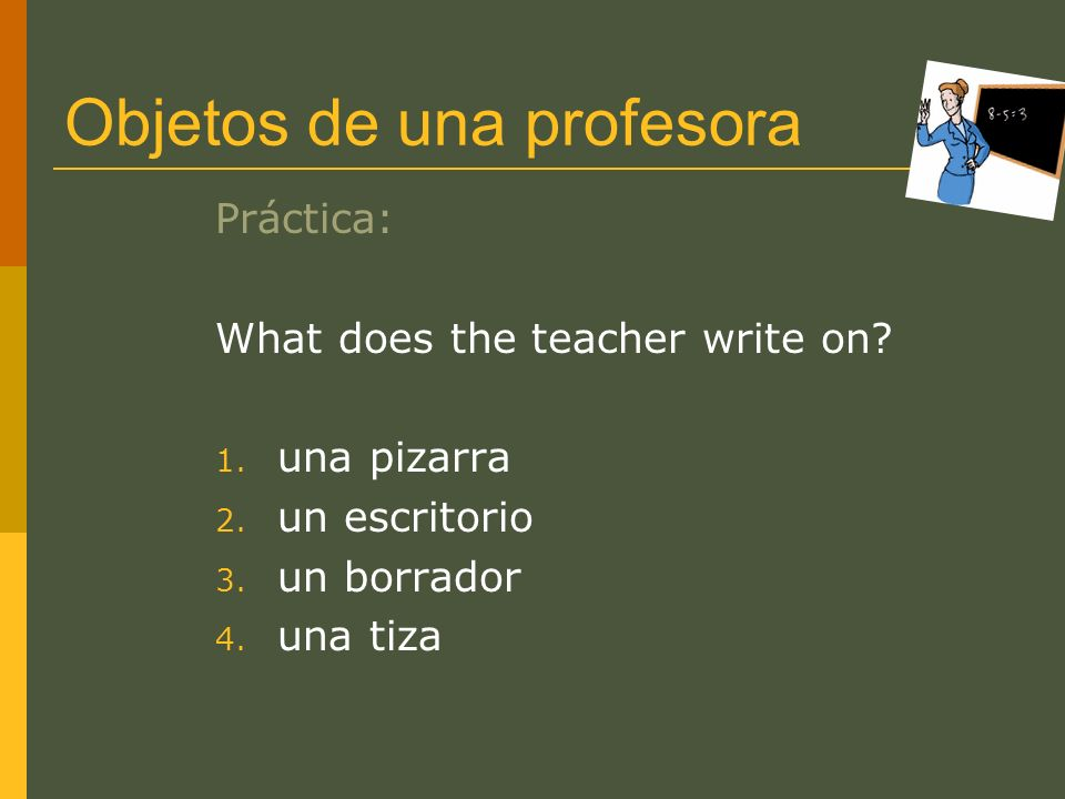 Objetos de una profesora
