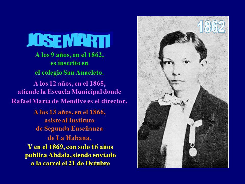 A los 9 años, en el 1862, es inscrito en el colegio San Anacleto.