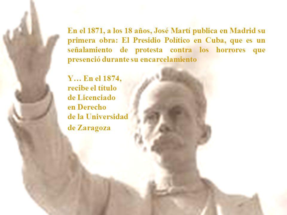 En el 1871, a los 18 años, José Martí publica en Madrid su primera obra: El Presidio Político en Cuba, que es un señalamiento de protesta contra los horrores que presenció durante su encarcelamiento