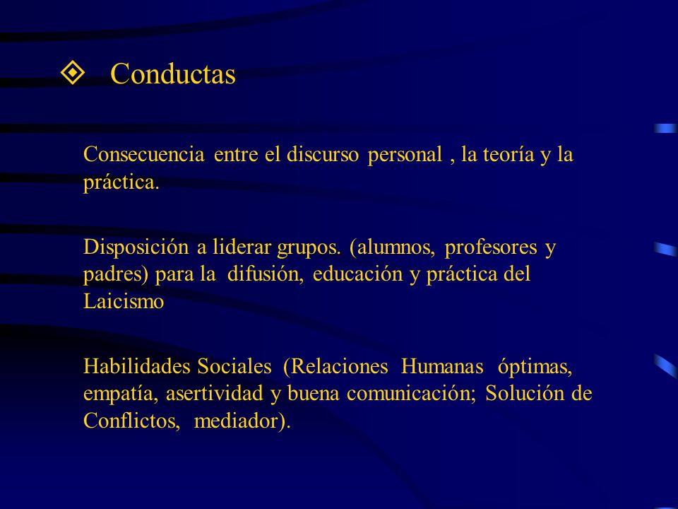 Conductas Consecuencia entre el discurso personal , la teoría y la práctica.