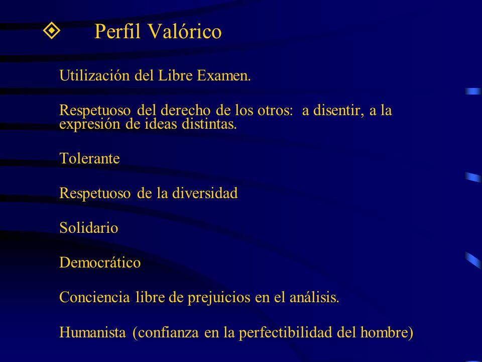 Perfil Valórico Utilización del Libre Examen. Respetuoso del derecho de los otros: a disentir, a la expresión de ideas distintas.