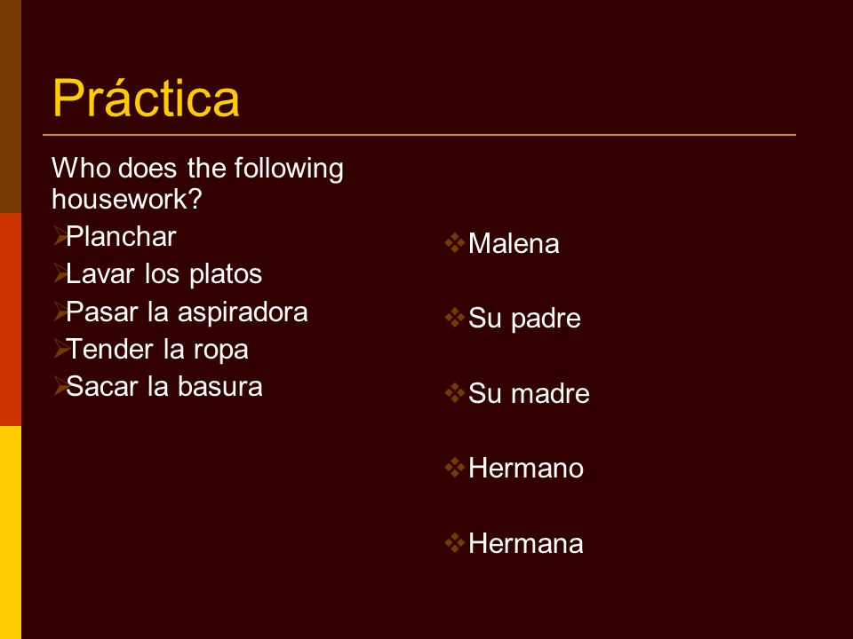 Práctica Who does the following housework Planchar Malena