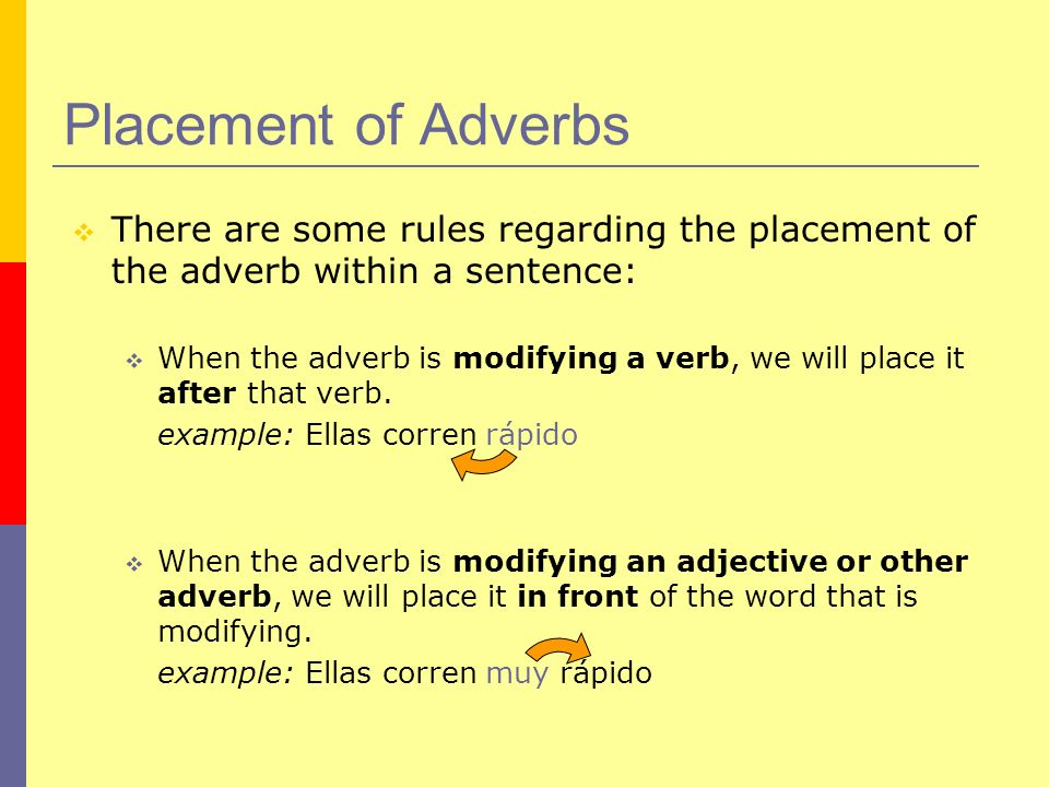 Placement of AdverbsThere are some rules regarding the placement of the adverb within a sentence: