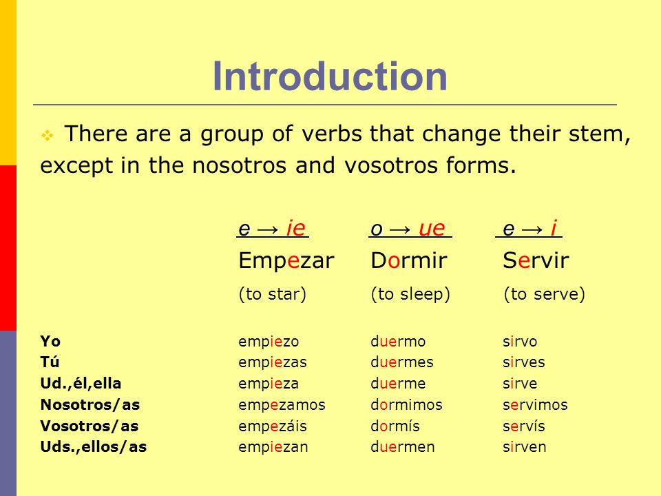 Introduction There are a group of verbs that change their stem,