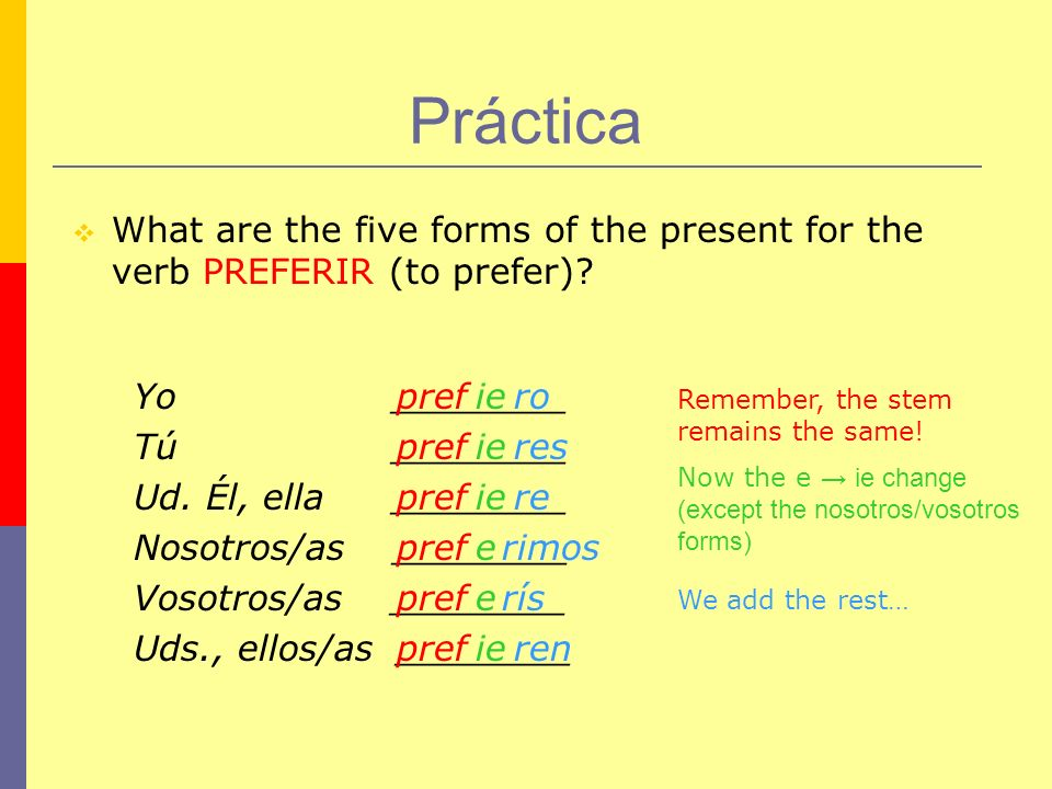Práctica What are the five forms of the present for the verb PREFERIR (to prefer) Yo ________.