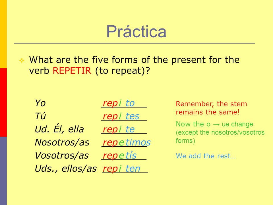 Práctica What are the five forms of the present for the verb REPETIR (to repeat) Yo ________.