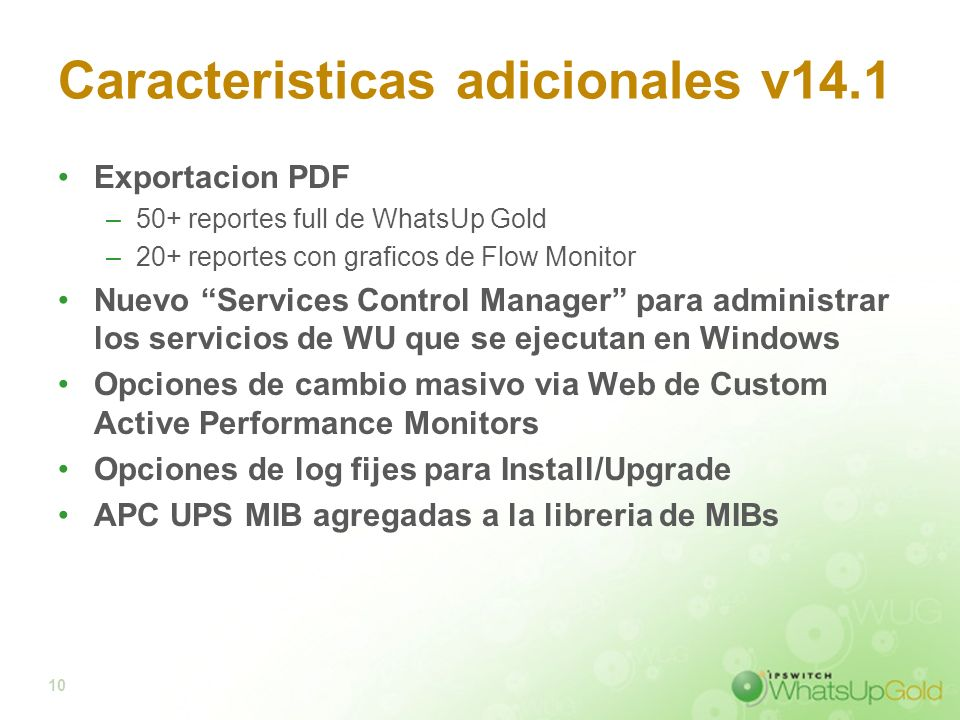 Caracteristicas adicionales v14.1