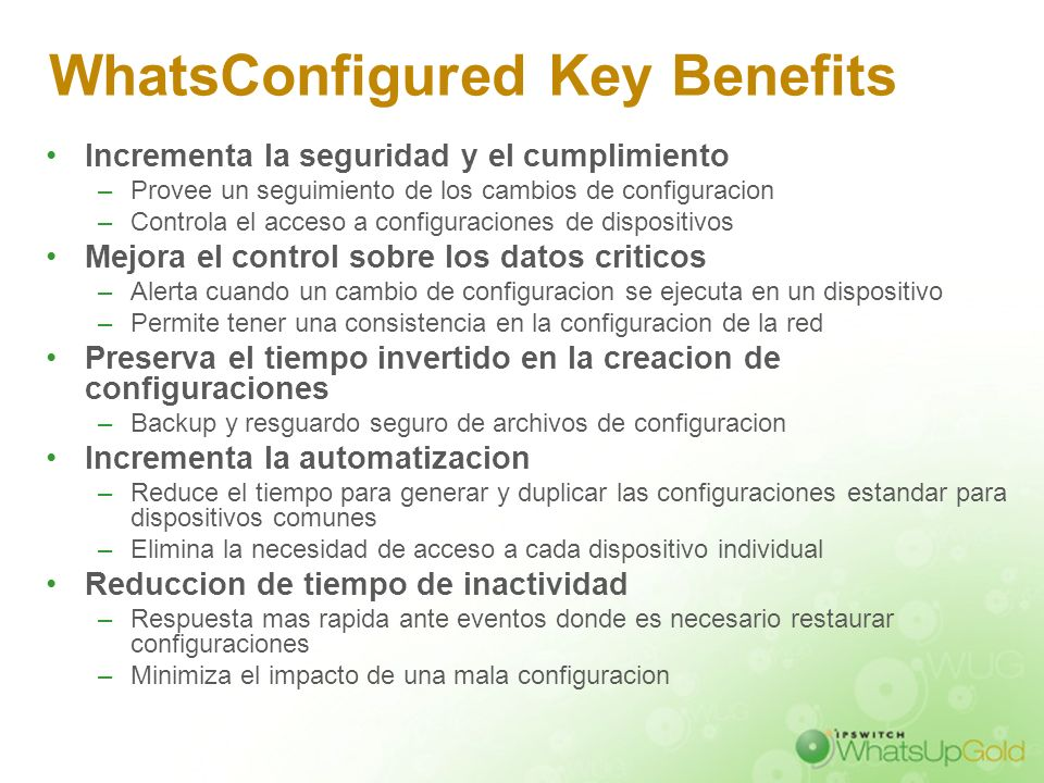 WhatsConfigured Key Benefits