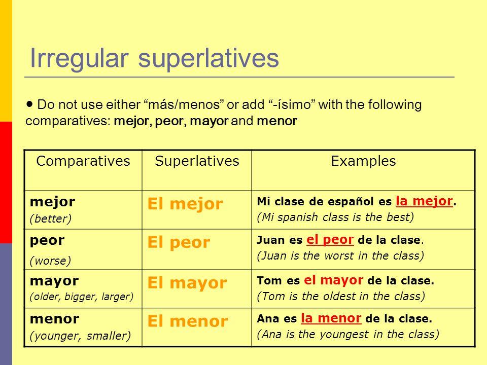 Irregular superlatives
