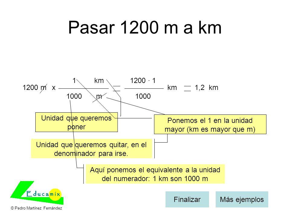 Pasar 1200 m a km 1. km. 1200 · 1. 1200 m. x. km. 1,2 km. 1000. m. 1000. Unidad que queremos poner.