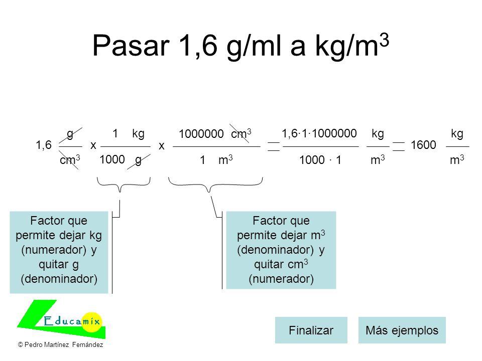 Pasar 1,6 g/ml a kg/m3 g 1 kg 1000000 cm3 1,6·1·1000000 kg kg 1,6 x x