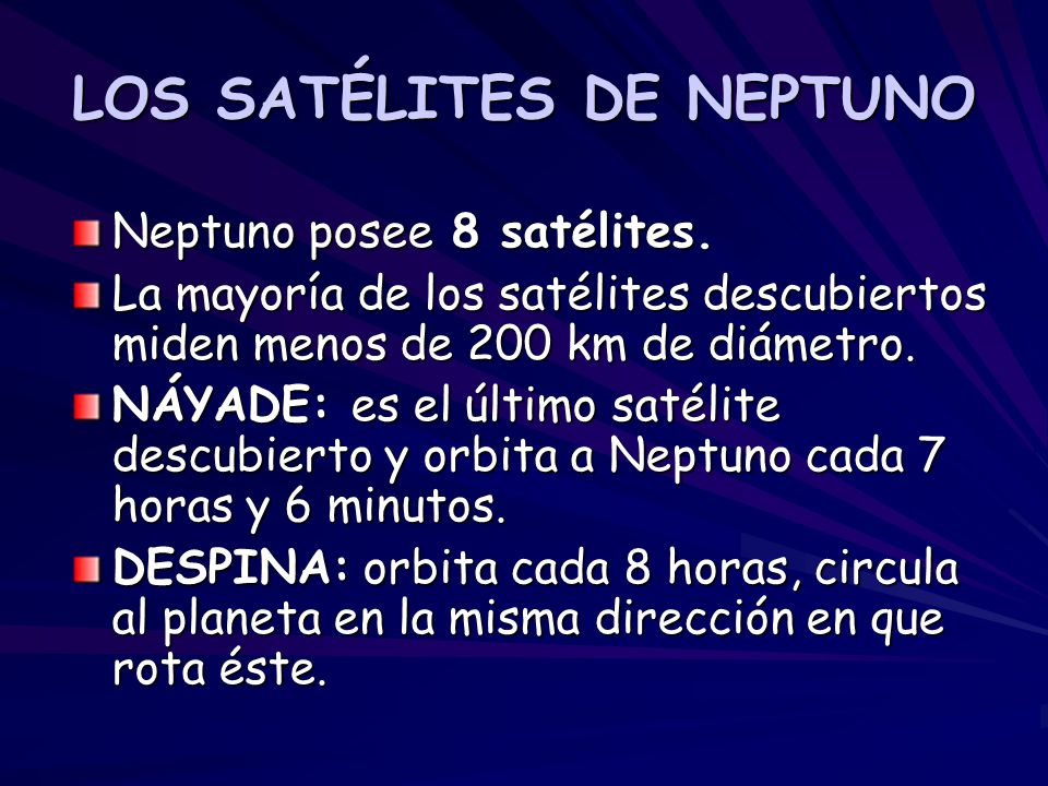 LOS SATÉLITES DE NEPTUNO