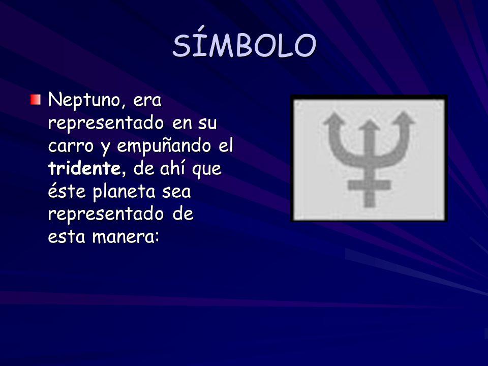 SÍMBOLO Neptuno, era representado en su carro y empuñando el tridente, de ahí que éste planeta sea representado de esta manera:
