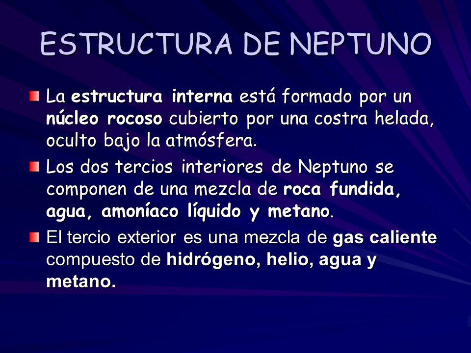 ESTRUCTURA DE NEPTUNO La estructura interna está formado por un núcleo rocoso cubierto por una costra helada, oculto bajo la atmósfera.
