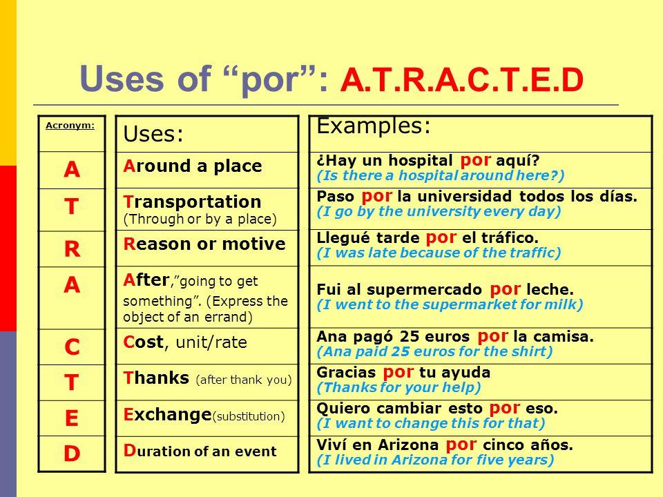 Uses of por : A.T.R.A.C.T.E.D