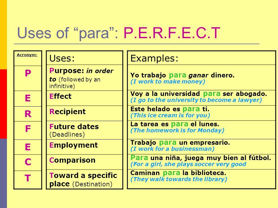 Uses of para : P.E.R.F.E.C.T