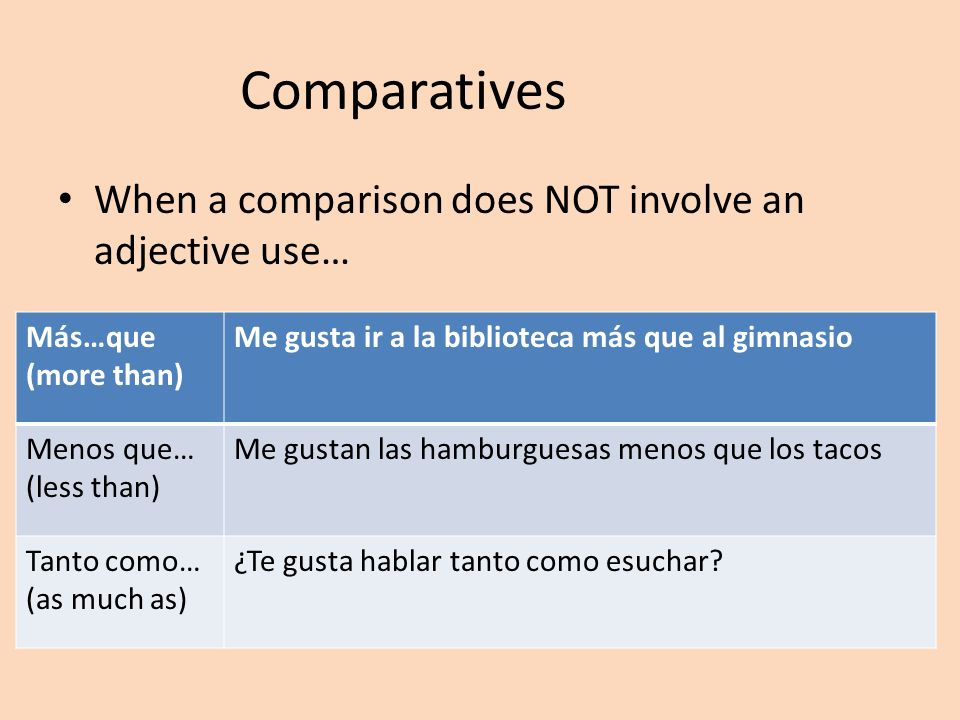 Comparatives When a comparison does NOT involve an adjective use…