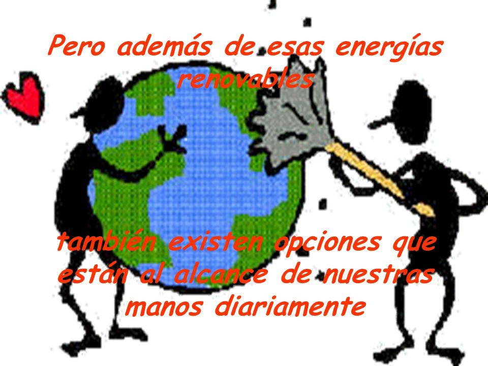 Pero además de esas energías renovables también existen opciones que están al alcance de nuestras manos diariamente